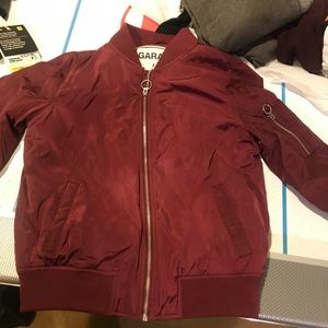 Maroon garage bomber size small